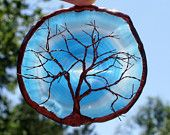 Copper Wire Tree Of Life Metal Wall Art Sculpture On A Blue And White Agate Stone Crystal Suncatcher #EasyPin