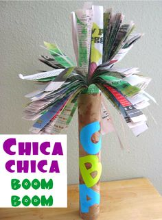 Chica Chica Boom Boom Craft  Paint paper, roll and tape, cut, insert and glue.