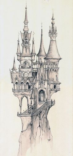 Castle impression, design for dream flight (Copyright: Efteling) Raddest Men? : Castle impression, design for dream flight (Copyright: Efteling) Raddest Men? Drawing Sketches, Cool Drawings, Pencil Drawings, Pencil Art, Drawing Ideas, Drawing Skills, Drawing Techniques, Sketching, Castle Drawing