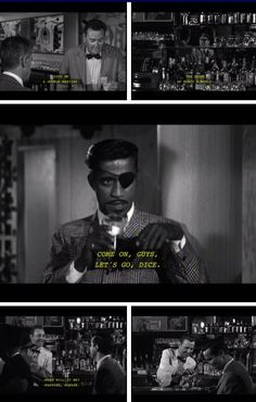 Johnny Cool (1963) Part III…Sammy Davis Jr., looking the bad ass with the cocktail and the eye patch. Cool orders a martini while he sets the trap.