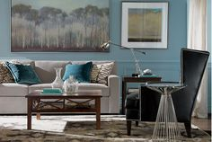 A neutral room is an easy canvas for pops of color and texture.