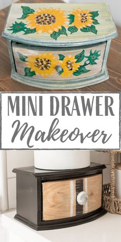 Thrifted Mini Drawer Makeover Resale Store, Black Spray Paint, Monthly Themes, Back To School Shopping, Ticking Stripe, The New School, Raw Wood, Yard Sale, Simply Beautiful