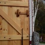 Timber Frame Barn Door Hardware details.  White Oak Door Latch.  By Black Dog Timberworks, LLC