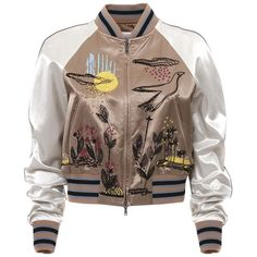 Bomber Jacket ($3,297) ❤ liked on Polyvore featuring outerwear, jackets, camel rose, cropped jacket, floral bomber jacket, brown cropped jacket, embroidered jacket and flower print jacket