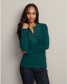 Embroidered Y-Neck Waffle Henley