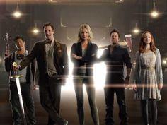 "Ezekiel Jones, Flynn Carsen, Eve Baird Jake Stone and Cassandra Cillian from the TNT show ""The Librarians"" (2014)."