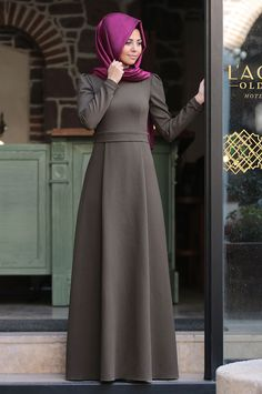 Virgo Dress Khaki - An Nahar Islamic Fashion, Muslim Fashion, Modest Fashion, Fashion Dresses, Hijab Style Dress, Modele Hijab, Muslim Dress, Khaki Dress, Islamic Clothing