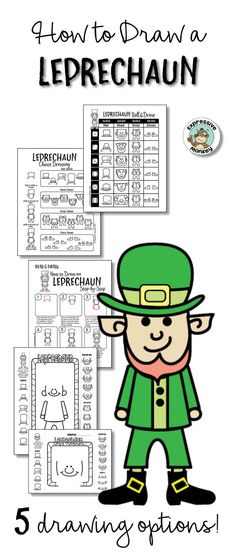 If leprechauns are good luck, it will be a really lucky day when you have your students create so many different leprechaun drawings with these how to draw pages.  Use them for a wide variety of ability levels and for any leprechaun art project.  Happy St. Patrick's Day!!
