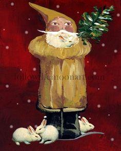 Christmas Bunny Rabbits Primitive Santa Claus Holiday Snow Flakes Art Print | eBay