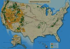 Post with 74 views. National Historic and Scenic Trails in the USA. Trail Maps, Geography, Places To See, Around The Worlds, Hiking, History, Travel, Usa, Infographics