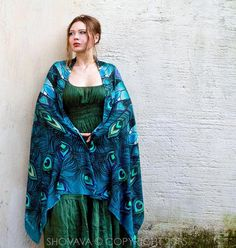 This unique bohemian wings and bird feathers shawl scarf features hand-painted and digitally printed Art of a very detailed Peacock. Peacock bird scarf shawl, Aqua feathers scarf - a unique product by Roza-Khamitova via en.dawanda.com