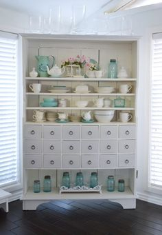 Appothacary Cabinet Painted Furniture Makeover | Maison Blanche Paint Company's Silver Mink and Lime Wax in Chalk White  www.foxhollowcottage.com