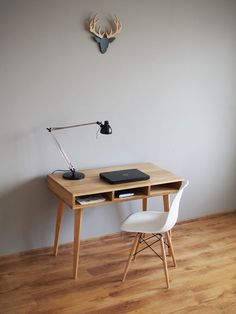 Presented work desk is made entirely of solid oak. The item is finished and protected with hard-wax oil finish, which is a mix of the highest