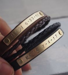 27ff178d905 Personalized Couple Bracelets  Engraved Leather Bracelet  Gift For ...