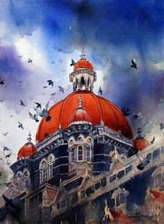 Watercolor paintings by Samir Mondal by India Artist, via Behance Watercolor Architecture, Watercolor Landscape Paintings, Artist Painting, Painting Tips, Watercolor Artists, Watercolor Pencils, Painting Lessons, Painting Tutorials, Abstract Paintings