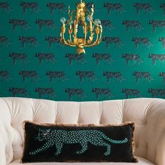Panther Peel & Stick Removable Wallpaper Bluff Green - Opalhouse™ - image 3 of 4 Green Wallpaper, Vinyl Wallpaper, Peel And Stick Wallpaper, Gold Color Scheme, Home Modern, Lumbar Throw Pillow, Bathroom Pictures, Traditional Wallpaper, Eclectic Style