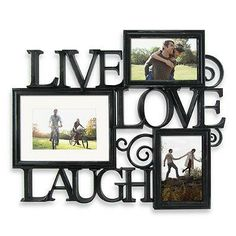 "Celebrate the good times with this ""Live, Love, Laugh"" photo wall art. Hand finished with scroll details in antique black, this wall decor holds displays three photos."