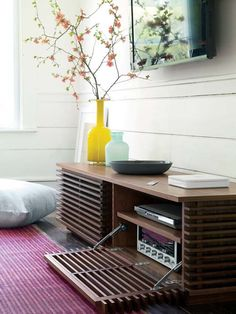 If we can use tree hide cords - or something where we mount & paint the cover it could be cool: -- Looking for media storage? We have solutions for every modern home. Tv Furniture, Furniture Projects, Modern Furniture Design, Refurbished Furniture, Furniture Stores, Modern Media Cabinets, Media Console Modern, Stereo Cabinet, Record Cabinet