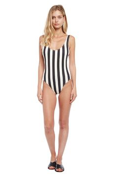 The anne marie one piece in nude and cream stripe cream for Anne marie cadieux maison