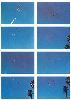 two-monocles:  Throwing four balls in the air to get a square ( best of 36 tries ), John Baldessari,1974.