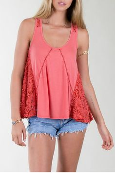 A beautiful tank with lace embellishments.   Cayenne Tank by Others Follow . Clothing - Tops - Tees & Tanks Illinois