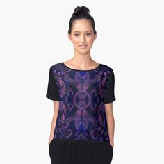 Curves & lotuses Chiffon Top by clipsocallipso  Abstract floral pattern, stylized flowers and curves, bohemian / ethnic / hippie / vintage style. Violet, black, ultramarine blue and pink colors, seamless pattern, rich hand drawn texture.  © Clipso-Callipso / Julia Khoroshikh  #violet #ultraviolet #purple #pink #black #blue #pattern #abstractart #mandala #pantone2018 #pantone #trending #coloroftheyear #top #apparel #fashionista