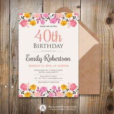 Adult birthday invitation template 50th birthday by AmeliyInvite https://www.etsy.com/listing/244915288/adult-birthday-invitation-template-50th