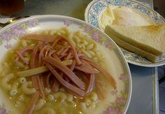 Hong Kong breakfast foods:  macaroni soup, eggs, and toast