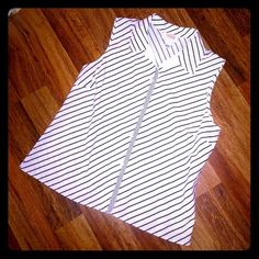 Talbots Striped Sleeveless Button Down Shirt NWOT NEVER WORN Talbots Striped Sleeveless Button Down Shirt. Super cute and perfect for spring/summer! Tag says size L but it fits more like a M. Has some stretch to it! Open to offers  Talbots Tops Button Down Shirts