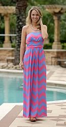 Blue/Pink Chevron Maxi with Pockets
