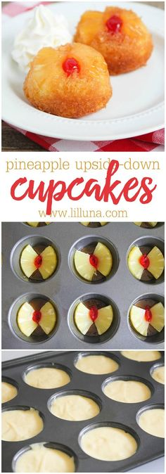 Pineapple Upside-Down Cupcakes - an easy fruity and delicious dessert recipe that is perfect any time of year!