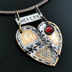 HEALER Mended HEART Necklace Hammered Brass Sterling Silver Red Swarovski Crystal N0503 by Robin Delargy LooLoo's Box