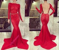 New Arrival Long Sleeves Red Mermaid Prom Dresses d020977f0517
