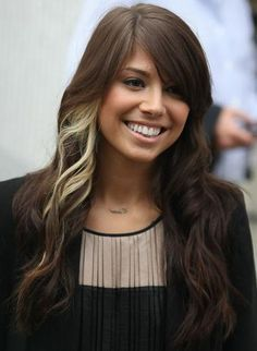 brown hair with a streak of blonde. I used to have one of these in my hair. What was I thinking!