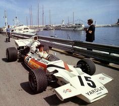 1972 - Brian Redman in the McLaren M19A - Ford. It appears to have 'wets' on a bright sunny day.