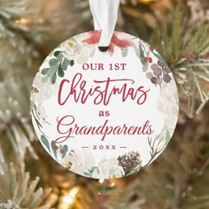 Our First Christmas as Grandparents Floral Photo Ornament - tap to personalize and get yours #Ornament #ad #first #christmas #1st #grandparents