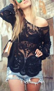 black lace top and cut off shorts , so perfect <3