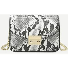 SheIn(sheinside) Snakeskin Print PU Chain Crossbody Bag ($18) ❤ liked on Polyvore featuring bags, handbags, shoulder bags, black and white, chain purse, snake print handbags, chain shoulder bag, chain handbags and python purse