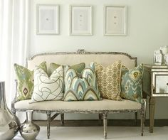 Vintage Settee and Contemporary Pillows