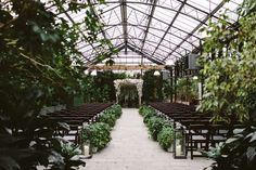 a beautiful greenhouse full of greenery with open glass ceilings for your wedding ceremony and reception by omalley king # wedding ceremony Planterra Conservatory Michigan Wedding Wedding Ceremony Ideas, Wedding Reception Planning, Wedding Vows, Destination Wedding, Wedding Day, Wedding Receptions, Indoor Wedding Venues, Dream Wedding, Rooftop Wedding