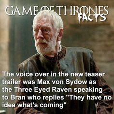 Game Of Thrones Facts, Got Game Of Thrones, Rory Mccann, Max Von Sydow, Game Of Trones, Beautiful Series, New Trailers, Teaser, Pop Culture