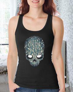 Skull City design for women tank men tank polyester by lerofer, $20.00