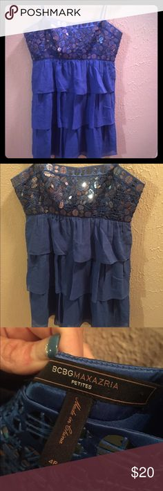 Blue dress (BCBG) Super cute blue BCBG dress; short with sequence across chest; may wear with thin straps or strapless; size Petite 4; never actually wore BCBGeneration Dresses Mini