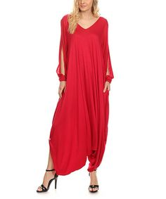 This Red Long-Sleeve Handkerchief Jumpsuit is perfect! #zulilyfinds