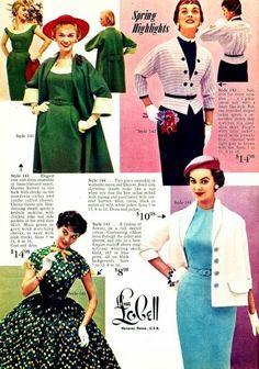 Lana Lobell Catalog - Spring and Summer Fashion Sonata 50s Inspired Fashion, 1950s Fashion, Vintage Fashion, 1960s Dresses, Vintage Dresses, Fashion Vestidos, White Collar, Historical Clothing, Vintage Sewing