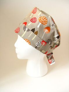 Beige orange red mushroom scrub Cap Surgical Hat by KittenCaps
