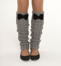 Gray Legwarmers with Black Bows Boot Socks by vintagelookcreations