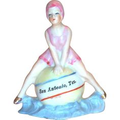 Art Deco 1920's San Antonio Hand Painted Porcelain Bathing Beauty Figurine Souvenir - Germany
