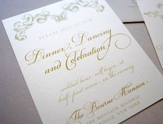 Ivory Champagne and Gold Wedding Invitations by WhimsyBDesigns