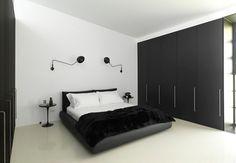 quarto masculino solteiro simples contemporaneo preto e branco